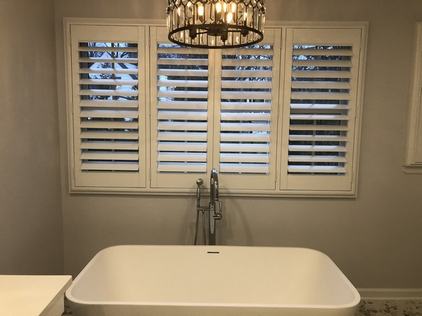 Hunter Douglas 3 1/2 Louvered Faux Wood Plantation Shutters with Hidden Tilt System in Ramsey NJ