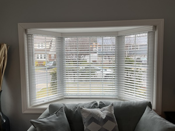 Graber Cordless 2-inch Faux Wood Blinds with Majestic Valances installed in Dumont NJ