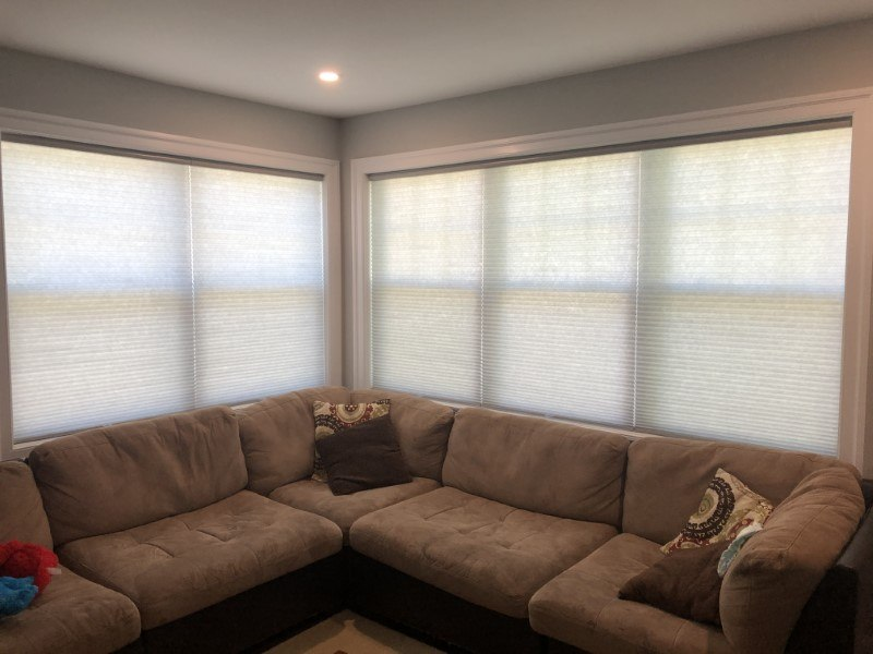 Graber cordless semi-opaque cellular shades installed in Bergenfield NJ