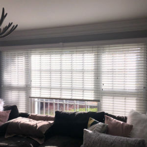 "Graber 2"" faux wood blinds With majestic valance and Cord tilter installed in Allendale NJ"