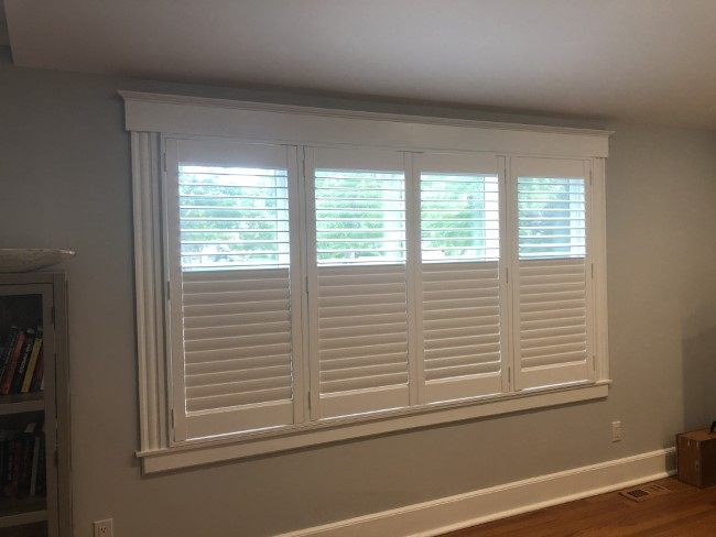 "Hunter Douglas 2 1/2"" faux wood shutters with rear hidden tilts Mounted inside window frame installed in Allendale NJ"