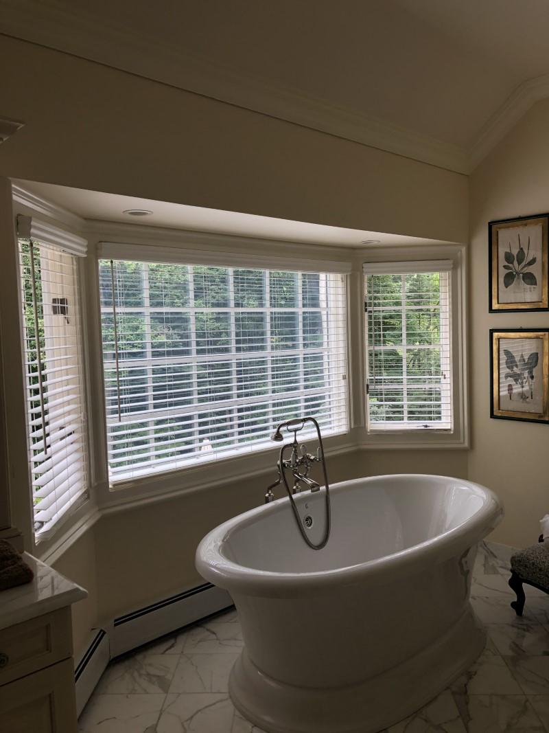 Hunter Douglas wood blinds installed in Saddle River, NJ