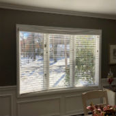 Faux Wood Blinds in Bay Window in Park Ridge, NJ