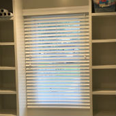"Hunter Douglas 2"" faux woodblinds in extreme white with Grandover valances"