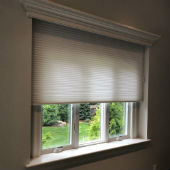 """Hunter Douglas 2"""" faux woodblinds in extreme white with Grandover valances"""