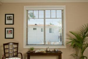 white blinds in a window