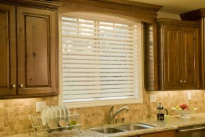 white blinds in the kitchen