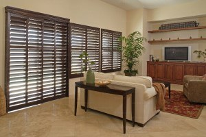 living room with brown shutters