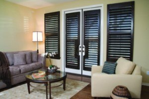 brown shutters in living room
